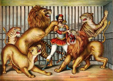 Lion tamer (Sourced from Wikimedia Commons: http://en.wikipedia.org/wiki/File:Lion_tamer_(LOC_pga.03749).jpg)