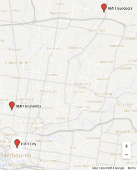 Map of Melbourne city, showing three campuses