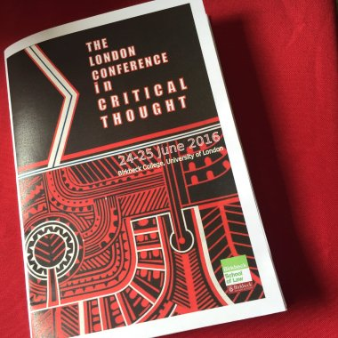 2016 London Conference in Critical Thought program | Photo sourced from Twitter's @A2K4D