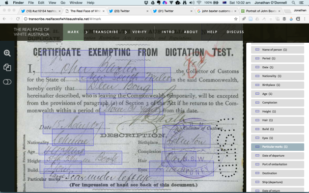 Screenshot showing the process of marking up a Certificate Exempting from Dictation Test, showing handwriting that has been marked, and the ways that it can be categorised.