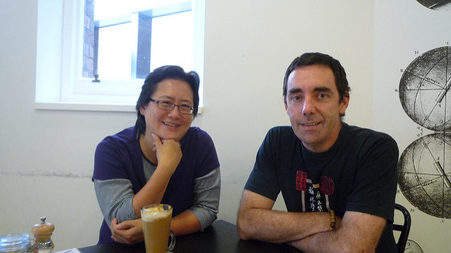 Tseen Khoo (left) and Jonathan O'Donnell (right) at Pearson and Murphy's cafe, RMIT.