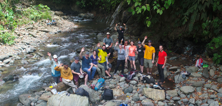 This photo was taken by a drone onsite in Costa Rica on sampling day one. From left: Heather Miller, J. Maarten de Moor, Peter Barry, Dan Hummer, Kayla Iocovino, Donato Giovanelli, Angelo Battaglia, Carlos Ramirez, Katie Pratt, Maria Martinez, Karen Lloyd, Kate Fullerton, and Patrick Beaudry. Giulio Bini and Yemerith Alpizar are standing behind the group.