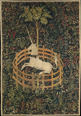 Tapestry of a unicorn, captured within a round fence.