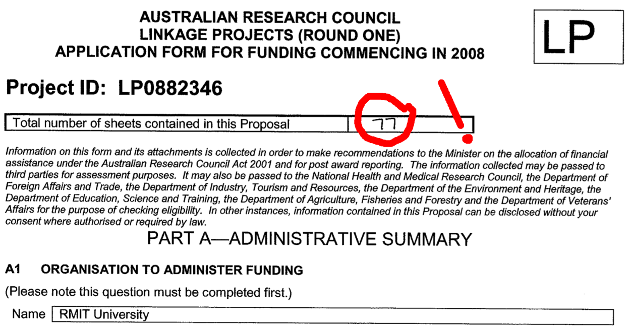 Front page of an ARC grant application, with 77 pages handwritten on the front.