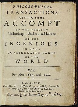 Philosophical Transactions: giving some account of the present understanding, studies and labours of the ingenious in many considerable parts of the world. Volume 1, for years 1665 and 1666.