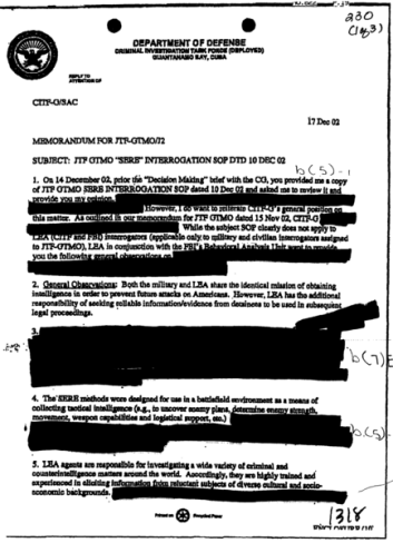 Page 1 of a US Department of Defence document with heavy redactions.