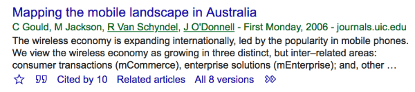 My first refereed publication, as listed on Google Scholar.