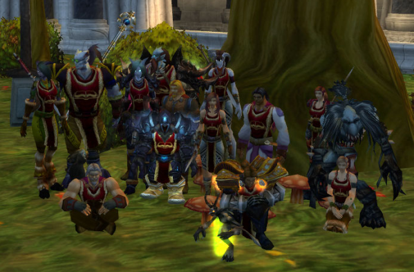 A group of World of Warcraft avatars, of vastly different races and classes, united by their love of libraries.