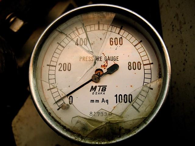 A broken pressure gauge