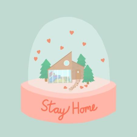 A snow-globe showing a house, with the words 'Stay Home' on the bottom