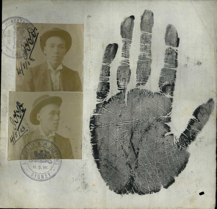 Front and side photographs and hand print from the Back of Certificate of Domicile of Ah Chong, 4 August 1903 (ST84/1, 1903/161-170)